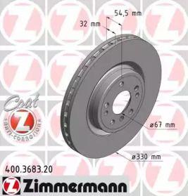 Вентилируемый тормозной диск на Мерседес Гле 'OTTO ZIMMERMANN 400.3683.20'.