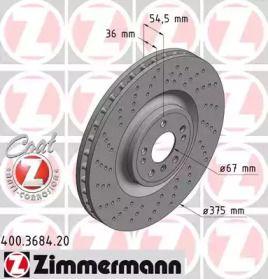 Вентилируемый тормозной диск с перфорацией на MERCEDES-BENZ GLS 'OTTO ZIMMERMANN 400.3684.20'.