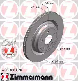 Вентилируемый тормозной диск на Мерседес Гле 'OTTO ZIMMERMANN 400.3687.20'.