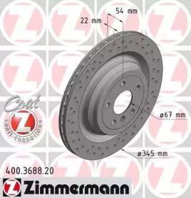 Вентилируемый тормозной диск с перфорацией на MERCEDES-BENZ GLS 'OTTO ZIMMERMANN 400.3688.20'.
