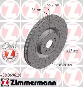 Вентильований гальмівний диск OTTO ZIMMERMANN 400.3696.20.