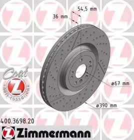 Вентилируемый тормозной диск с насечками С перфорацией на MERCEDES-BENZ GLS 'OTTO ZIMMERMANN 400.3698.20'.