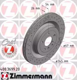 Вентилируемый тормозной диск с насечками С перфорацией на MERCEDES-BENZ GLS 'OTTO ZIMMERMANN 400.3699.20'.