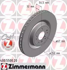 Вентилируемый тормозной диск на MERCEDES-BENZ GLS 'OTTO ZIMMERMANN 400.5500.20'.