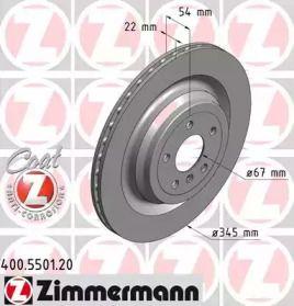 Вентилируемый тормозной диск на Мерседес Глс 'OTTO ZIMMERMANN 400.5501.20'.