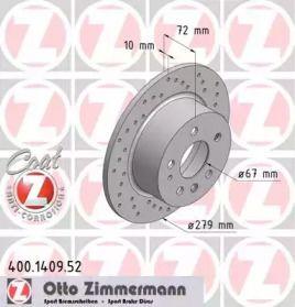 Перфорований гальмівний диск OTTO ZIMMERMANN 400.1409.52 малюнок 0