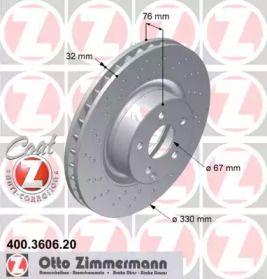 Вентильований гальмівний диск з перфорацією 'OTTO ZIMMERMANN 400.3606.20'.