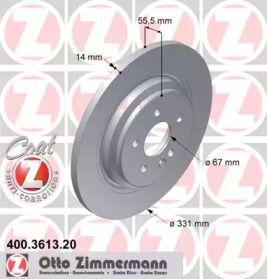 Тормозной диск на Мерседес М класс 'OTTO ZIMMERMANN 400.3613.20'.