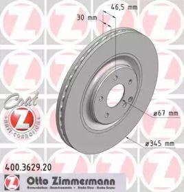 Вентильований гальмівний диск OTTO ZIMMERMANN 400.3629.20 малюнок 0