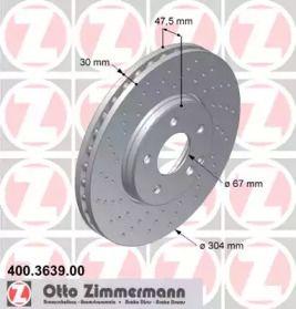 Вентильований гальмівний диск з перфорацією OTTO ZIMMERMANN 400.3639.00 малюнок 0