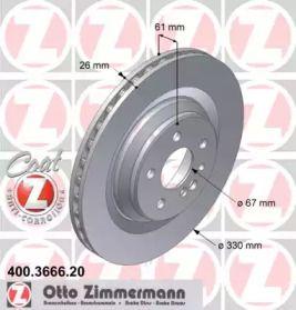 Вентильований гальмівний диск OTTO ZIMMERMANN 400.3666.20 малюнок 0