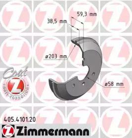 Тормозной барабан на SMART CITY-COUPE 'OTTO ZIMMERMANN 405.4101.20'.