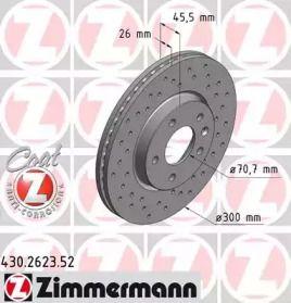 Вентилируемый тормозной диск с перфорацией на CHEVROLET VOLT 'OTTO ZIMMERMANN 430.2623.52'.
