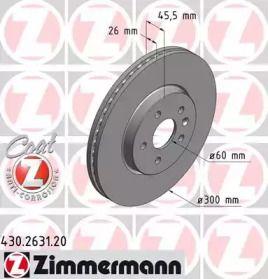 Вентилируемый тормозной диск на CHEVROLET TRAX 'OTTO ZIMMERMANN 430.2631.20'.