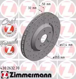 Вентильований гальмівний диск з перфорацією OTTO ZIMMERMANN 430.2632.70 малюнок 0