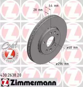 Перфорированный тормозной диск на Фиат Таленто 'OTTO ZIMMERMANN 430.2638.20'.