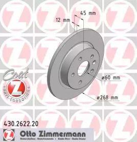 Тормозной диск на OPEL MOKKA 'OTTO ZIMMERMANN 430.2622.20'.