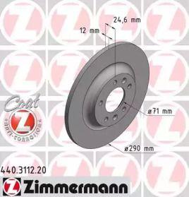 Тормозной диск на Пежо РЦЗ 'OTTO ZIMMERMANN 440.3112.20'.