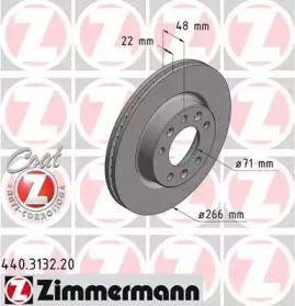 Вентилируемый передний тормозной диск 'OTTO ZIMMERMANN 440.3132.20'.