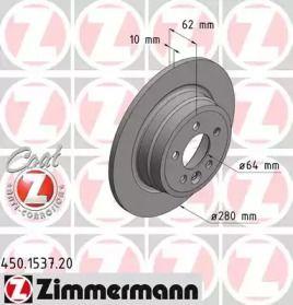 Тормозной диск на Ровер 75 'OTTO ZIMMERMANN 450.1537.20'.