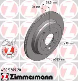 Перфорированный тормозной диск на Рендж Ровер Спорт 'OTTO ZIMMERMANN 450.5209.20'.