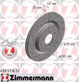 Вентильований гальмівний диск з перфорацією OTTO ZIMMERMANN 450.5216.52 малюнок 0