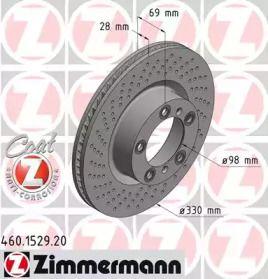 Вентилируемый тормозной диск с перфорацией на PORSCHE 718 'OTTO ZIMMERMANN 460.1529.20'.