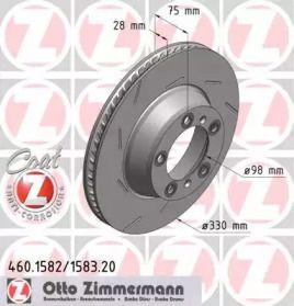 Вентилируемый тормозной диск с насечками на PORSCHE PANAMERA 'OTTO ZIMMERMANN 460.1582.20'.