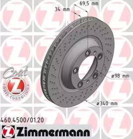 Вентилируемый тормозной диск с перфорацией на Порше 911 'OTTO ZIMMERMANN 460.4501.20'.