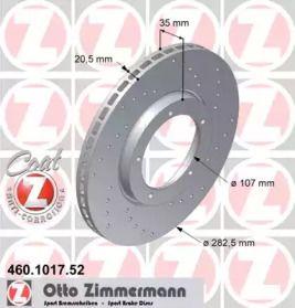 Вентилируемый тормозной диск с перфорацией на Порше 924 'OTTO ZIMMERMANN 460.1017.52'.