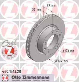 Вентилируемый тормозной диск на Порше 928 'OTTO ZIMMERMANN 460.1513.20'.