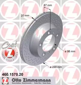 Вентилируемый тормозной диск с перфорацией на Порше 718 OTTO ZIMMERMANN 460.1570.20.