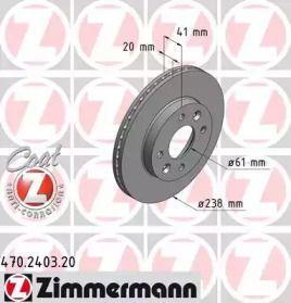 Вентильований гальмівний диск OTTO ZIMMERMANN 470.2403.20 малюнок 0