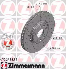 Перфорированный тормозной диск на RENAULT TALISMAN 'OTTO ZIMMERMANN 470.2438.52'.