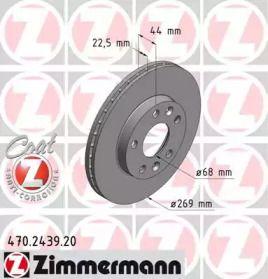Вентилируемый тормозной диск на RENAULT DUSTER 'OTTO ZIMMERMANN 470.2439.20'.