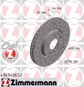 Вентилируемый тормозной диск с перфорацией на Рено Талисман 'OTTO ZIMMERMANN 470.5406.52'.