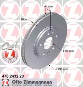 Перфорированный тормозной диск на Рено Латитьюд 'OTTO ZIMMERMANN 470.2432.20'.