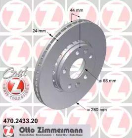 Перфорированный тормозной диск на RENAULT FLUENCE 'OTTO ZIMMERMANN 470.2433.20'.