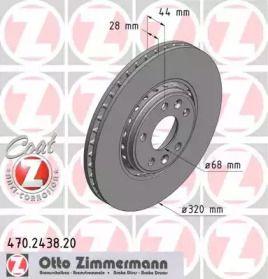 Перфорированный тормозной диск на RENAULT TALISMAN 'OTTO ZIMMERMANN 470.2438.20'.
