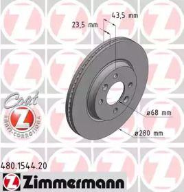 Вентилируемый тормозной диск на Сааб 9000 'OTTO ZIMMERMANN 480.1544.20'.