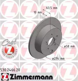 Тормозной диск на Субару ХВ 'OTTO ZIMMERMANN 530.2466.20'.