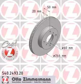 Вентилируемый тормозной диск на Сузуки Лиана 'OTTO ZIMMERMANN 540.2493.20'.