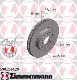 Вентилируемый тормозной диск на TOYOTA CARINA 'OTTO ZIMMERMANN 590.2561.20'.