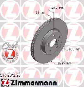 Вентилируемый тормозной диск на TOYOTA URBAN CRUISER 'OTTO ZIMMERMANN 590.2812.20'.