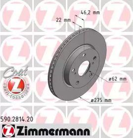 Вентилируемый тормозной диск 'OTTO ZIMMERMANN 590.2814.20'.