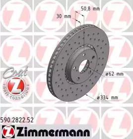 Перфорированный тормозной диск на Лексус РС 'OTTO ZIMMERMANN 590.2822.52'.