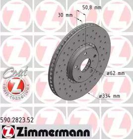 Перфорированный тормозной диск на LEXUS RC 'OTTO ZIMMERMANN 590.2823.52'.