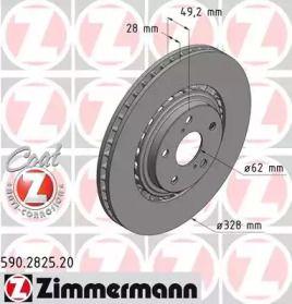 Перфорированный тормозной диск на Лексус НХ 'OTTO ZIMMERMANN 590.2825.20'.