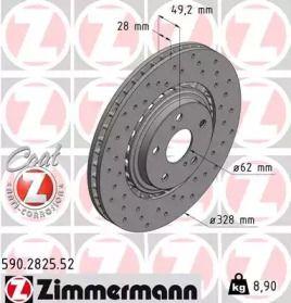 Перфорированный тормозной диск на LEXUS NX 'OTTO ZIMMERMANN 590.2825.52'.