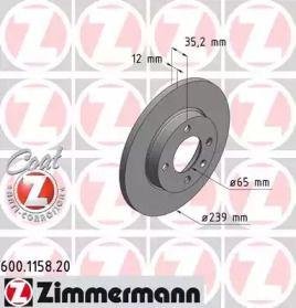 Передний тормозной диск 'OTTO ZIMMERMANN 600.1158.20'.